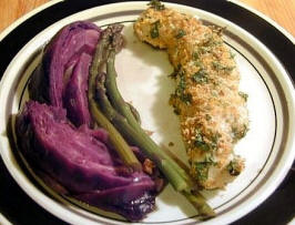 Orange Crusted Halibut with Purple Cabbage and Asparagus